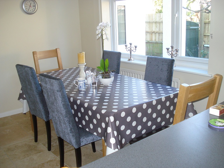 big polka dot tablecloth