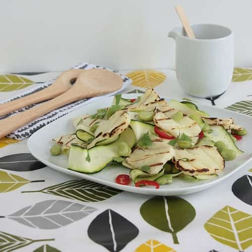 BARBECUED HALLOUMI, COURGETTE AND BROAD BEAN SALAD