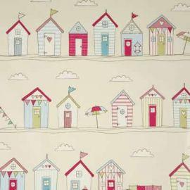 Beach Huts Pink oilcloth tablecloth