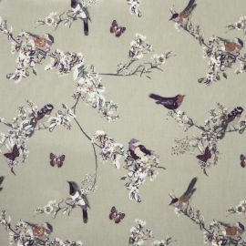 Beautiful Birds Sage oilcloth tablecloth