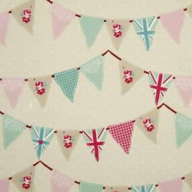 Bunting Pink oilcloth tablecloth