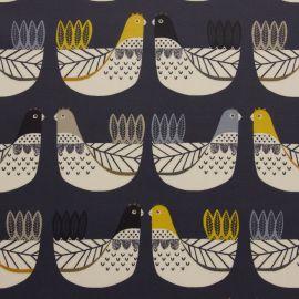 Cluck cluck Indigo oilcloth tablecloth