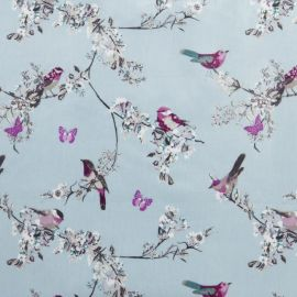 Beautiful Birds Duck Egg oilcloth tablecloth