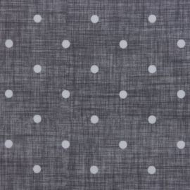 Dotty Linen Charcoal oilcloth tablecloth