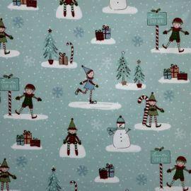 Christmas Elf Duck Egg oilcloth tablecloth