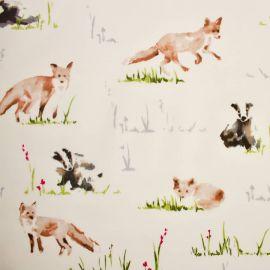 Fox and Badger oilcloth tablecloth
