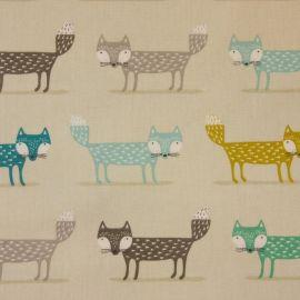 Foxy Teal oilcloth tablecloth