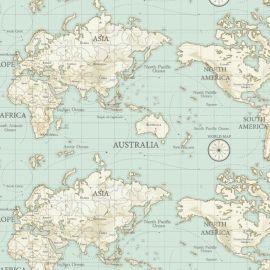 Maps Duck Egg oilcloth tablecloth