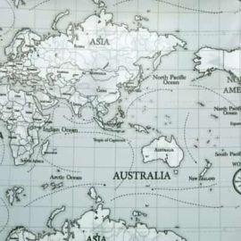 Maps grey oilcloth tablecloth