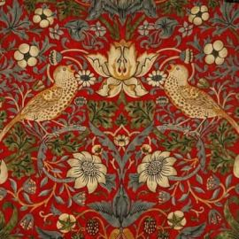 William Morris Strawberry Thief Crimson oilcloth tablecloth