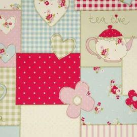 Tea Time Pink oilcloth tablecloth