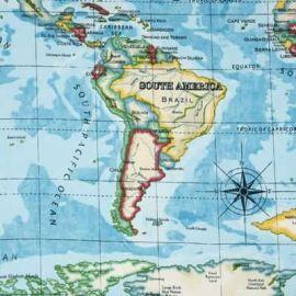 World Map oilcloth tablecloth