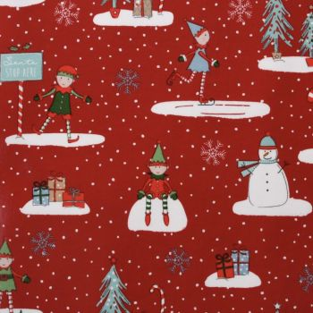 Christmas Elf Red oilcloth tablecloth