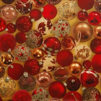 Red Baubles Christmas PVC tablecloth